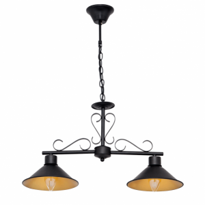 Lámpara colgante Buhardilla 2xe27 Negro Regx62