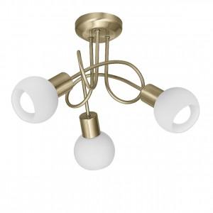 Lámpara plafón 3L Opal cuero 3 X E-14