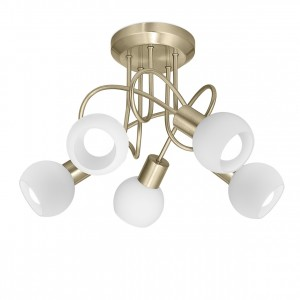 Lámpara plafón 5L Opal cuero 5 X E-14