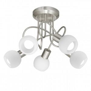 Lámpara plafón 5L Opal níquel satinado 5 X E-14