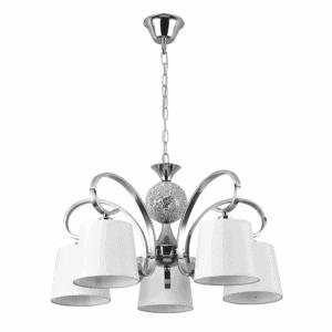 Lámpara Concordia 5xe14 Cromo Pantalla Blanca REGx60x60