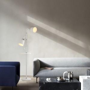 Pie de salón 2 luces blanco con mesa serie Nancy