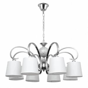Lámpara Concordia 8xe14 Cromo Pantalla Blanca  50-70x78d