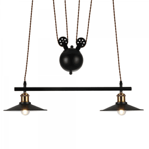 Lámpara Colgante Triguero 2xe27 Negro Regx22x70 Cm