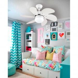Ventilador de techo arrayan blanco habitación pequeña