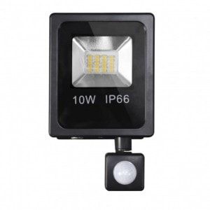 Proyector C/sensor  Olivino 10w 6500k Negro 900lm  Led Sm Ip66 19x11